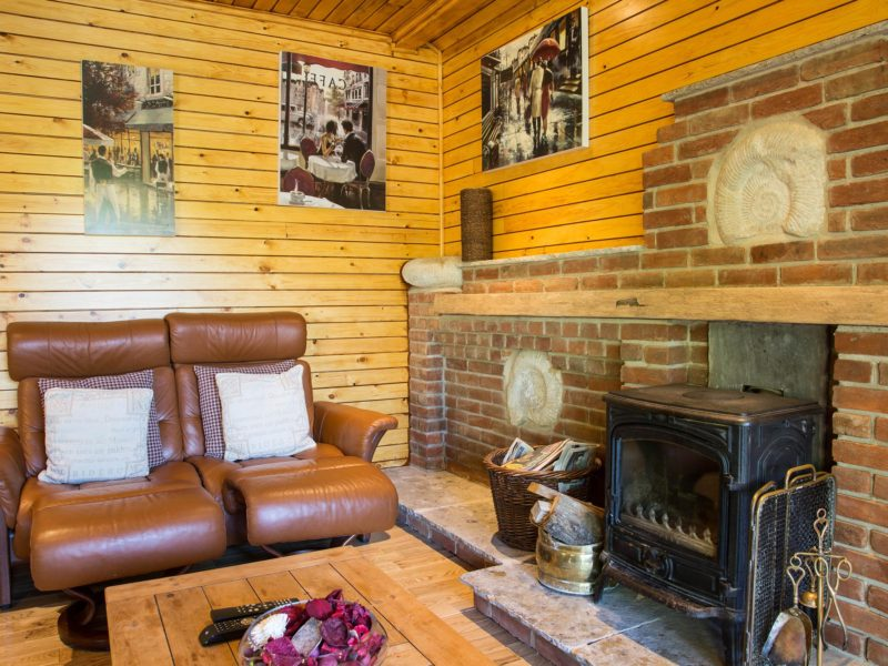 Ash Log Cabin fireplace